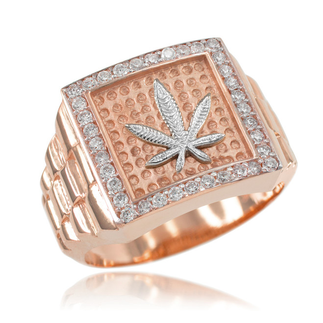 Rose Gold Watchband Design Men's Marijuana CZ Ring