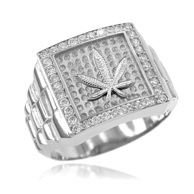 Silver Watchband Design Men's Marijuana CZ Ring