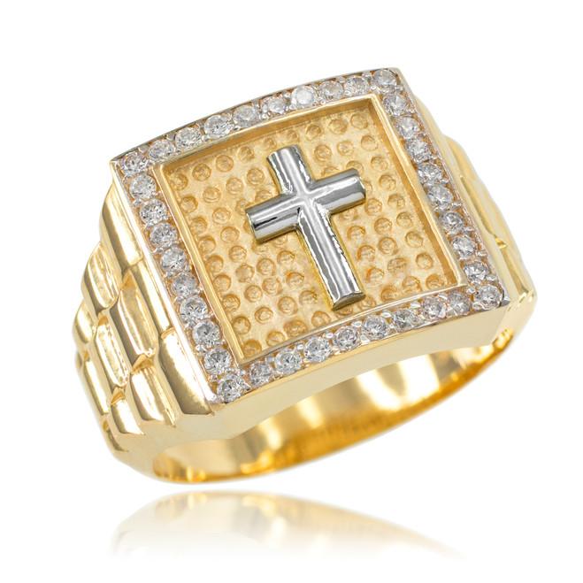 Gold Watchband Design Men's Cross CZ Ring