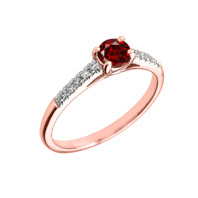 Rose Gold Diamond and Garnet Engagement Proposal Ring