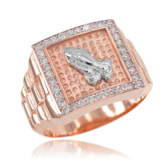 Rose Gold Watchband Design Men's Pray CZ Ring
