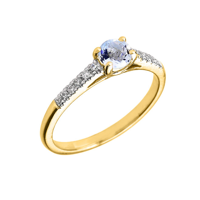 Yellow Gold Diamond and Aquamarine Engagement Proposal Ring