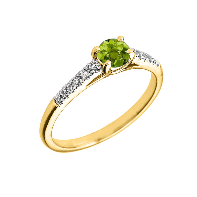 Yellow Gold Diamond and Peridot Engagement Proposal Ring