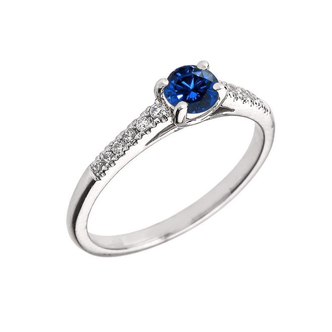 White Gold Diamond and Sapphire Engagement Proposal Ring