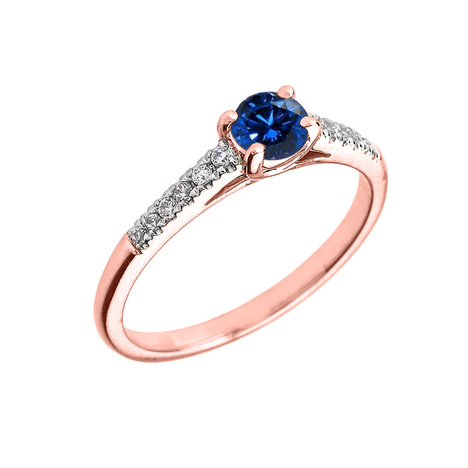 Rose Gold Diamond and Sapphire Engagement Proposal Ring