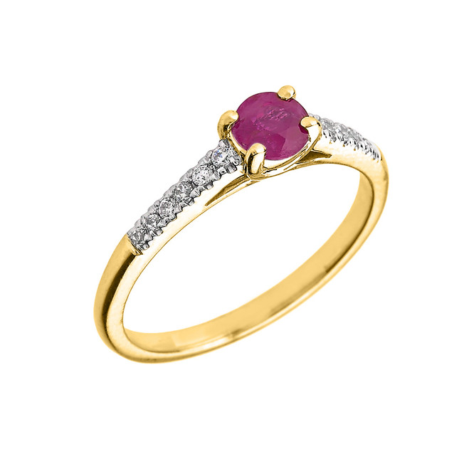 Yellow Gold Diamond and Ruby Engagement Proposal Ring