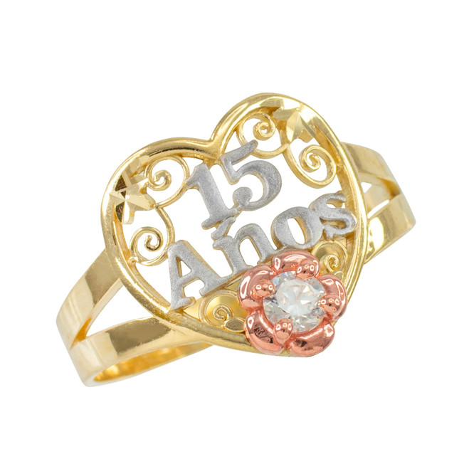 Tri-tone Gold Quinceanera 15 Anos Heart CZ Ring