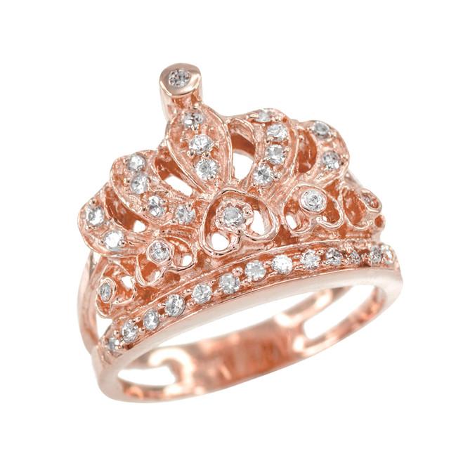 Rose Gold Crown CZ Ring