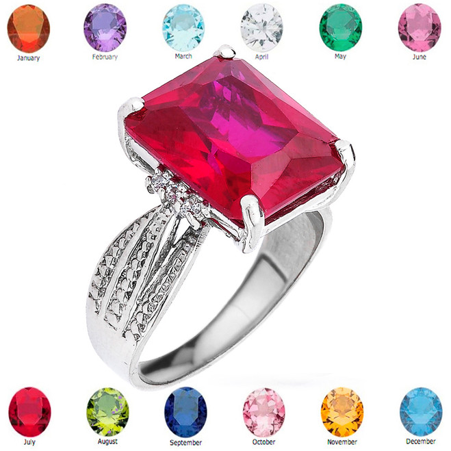 Sterling Silver Diamond and Lab Created Ruby Birthstone Engagement Ring