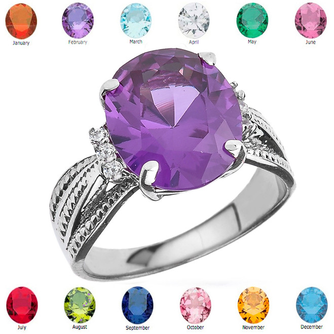 Sterling Silver Diamond and Oval Lab Created Alexandrite Birthstone Engagement Ring