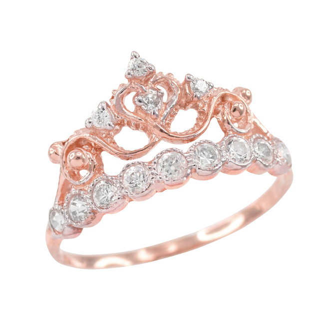 Rose Gold CZ Crown Ring