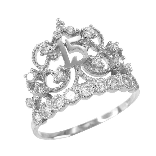 White Gold Crown Quinceanera 15 Anos CZ Ring