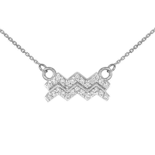 14K White Gold Aquarius Zodiac Sign Diamond Necklace