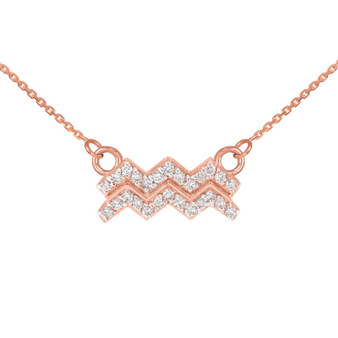 14K Rose Gold Aquarius Zodiac Sign Diamond Necklace