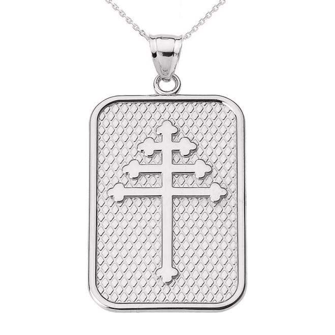 White Gold Maronite Cross Pendant Necklace