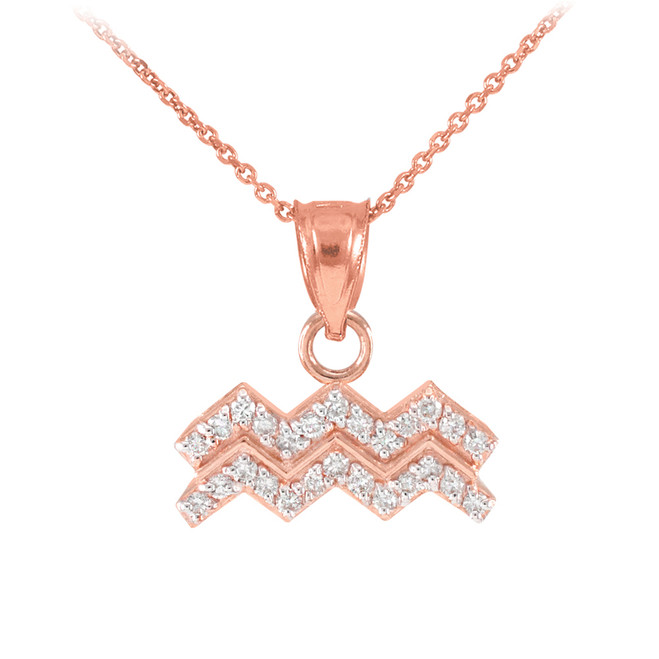 14K Rose Gold Aquarius Zodiac Sign Diamond Pendant Necklace