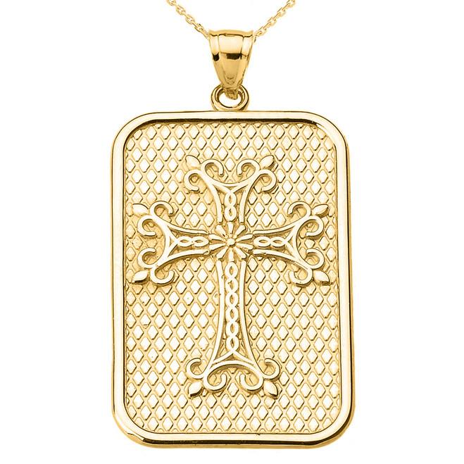 Yellow Gold Armenian Apostolic Cross Pendant Necklace