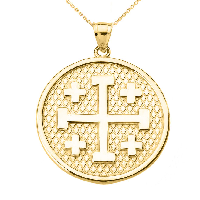 Yellow Gold Jerusalem Cross Round Pendant Necklace