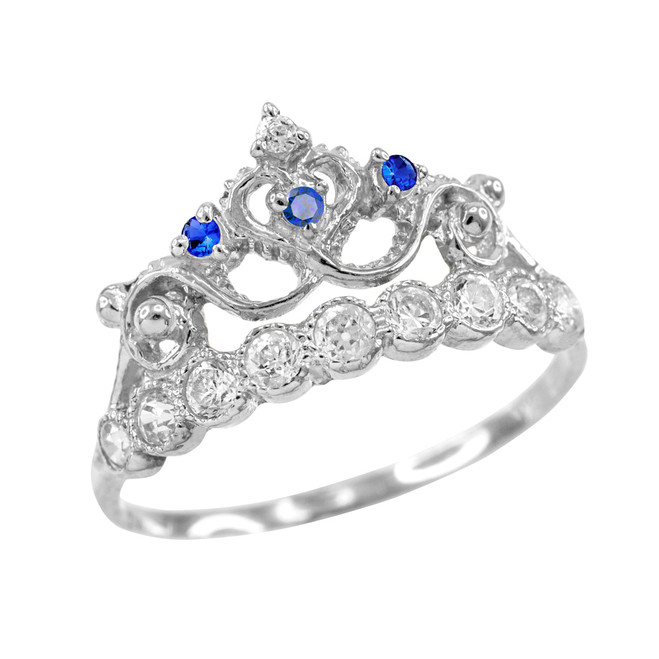 Blue CZ White Gold Crown Ring