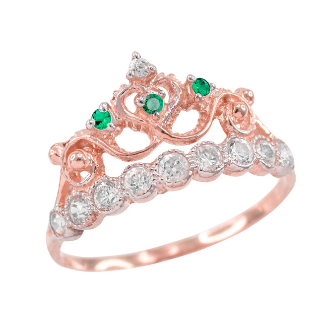 Green CZ Rose Gold Crown Ring