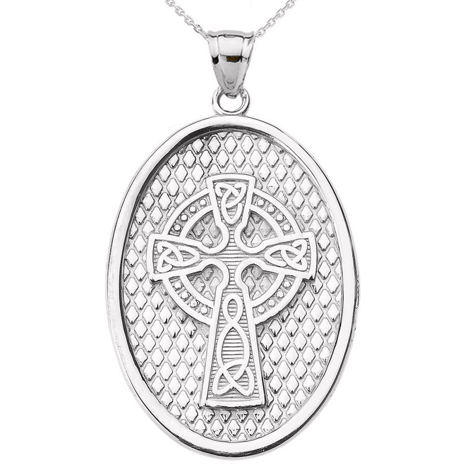 White Gold Trinity Knot Celtic Cross Oval Pendant Necklace