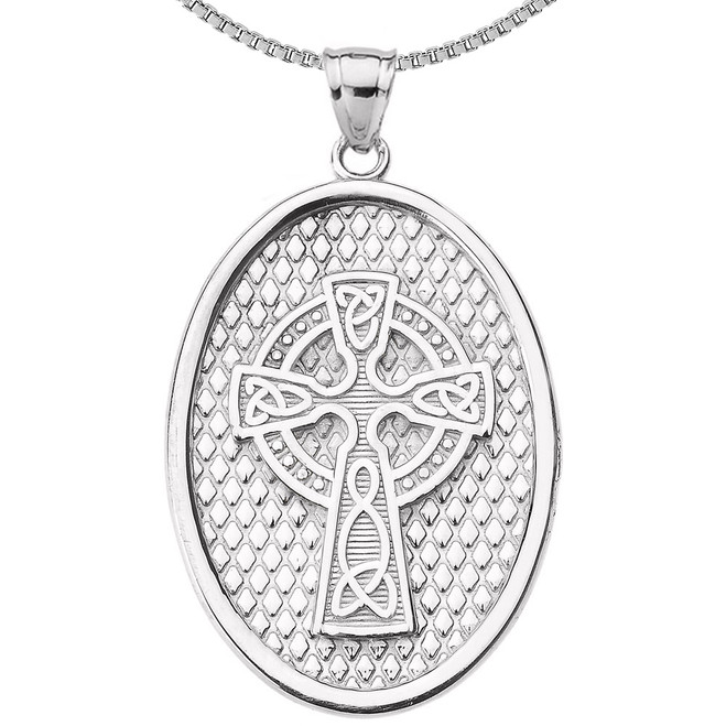Sterling Silver Trinity Knot Celtic Cross Oval Pendant Necklace