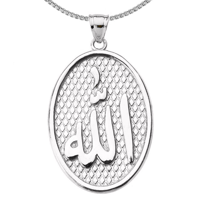 Sterling Silver Allah Oval Pendant Necklace