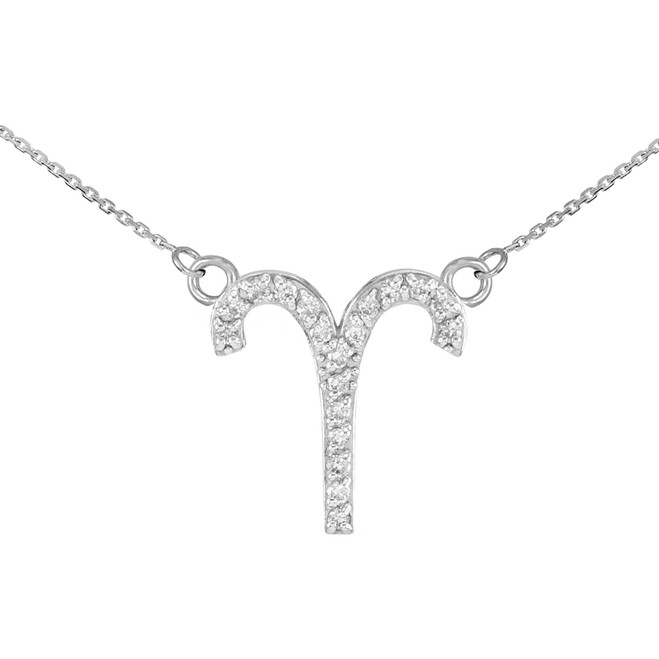 14K White Gold Aries Zodiac Sign Diamond Necklace
