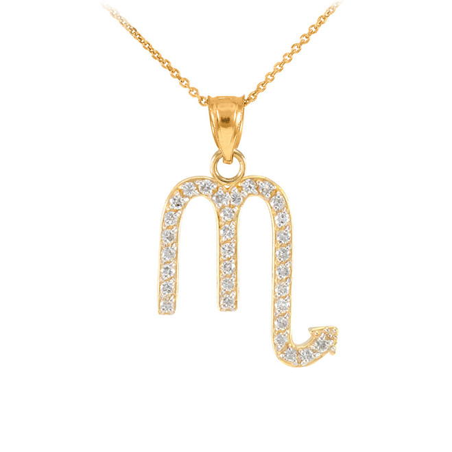 14K Gold Scorpio Zodiac Sign Diamond Pendant Necklace
