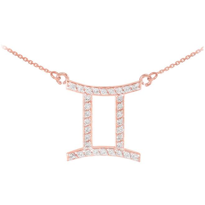 14K Rose Gold Gemini Zodiac Sign Diamond Necklace