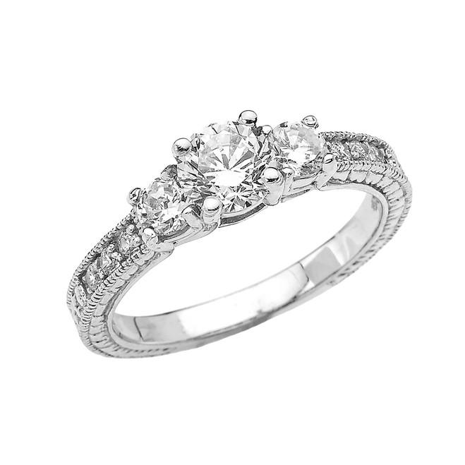 White Gold Art Deco CZ Engagement Proposal Ring