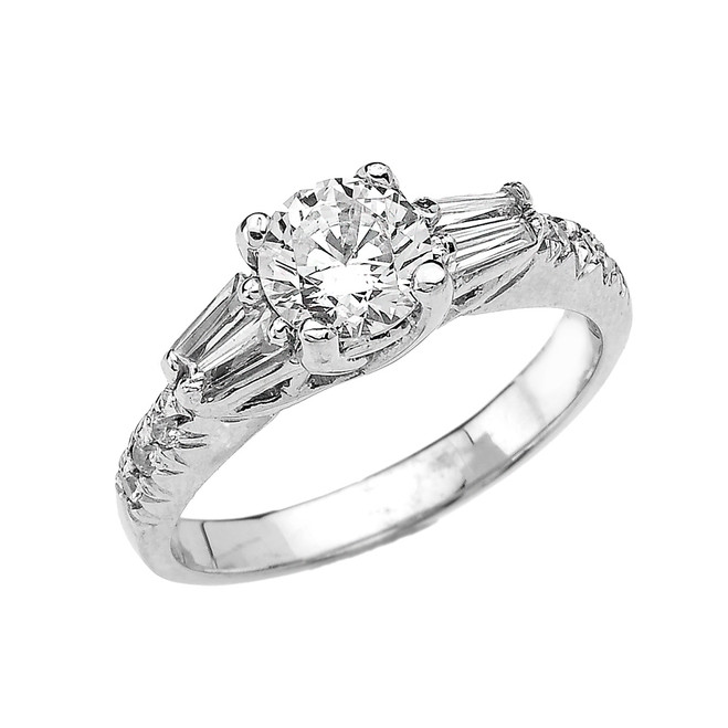 White Gold French Cut Pave CZ Engagement Ring with Tapered Baguettes