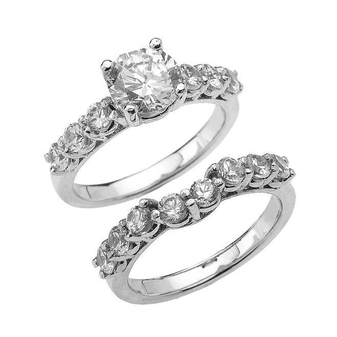 White Gold Round CZ Engagement Bridal Set