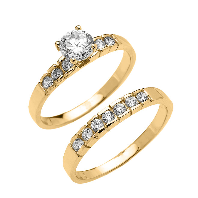 Yellow Gold Channel Set Round CZ Engagement Wedding Ring Set
