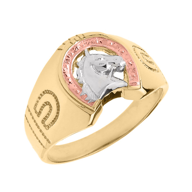 Tri-tone Gold Horseshoe with Horse Head Men's Ring