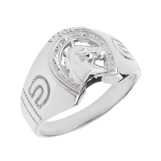 White Gold Horseshoe with Horse Head Men's Ring