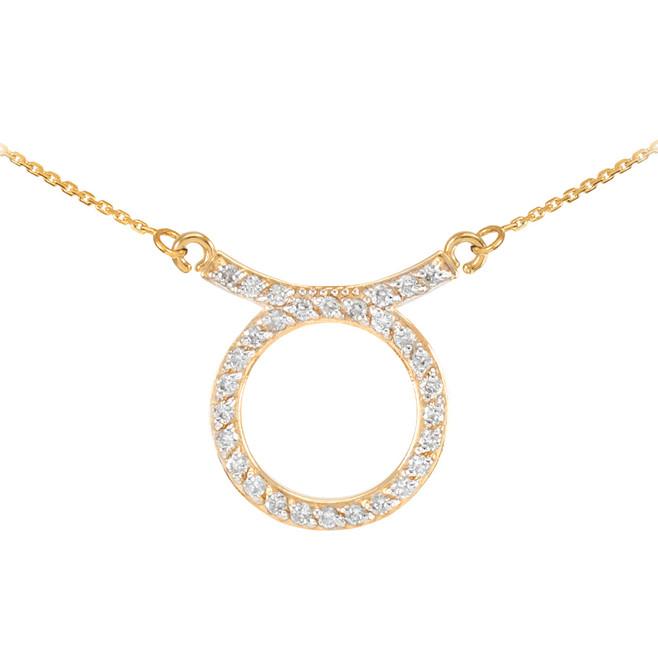 14K Gold Taurus Zodiac Sign Diamond Necklace