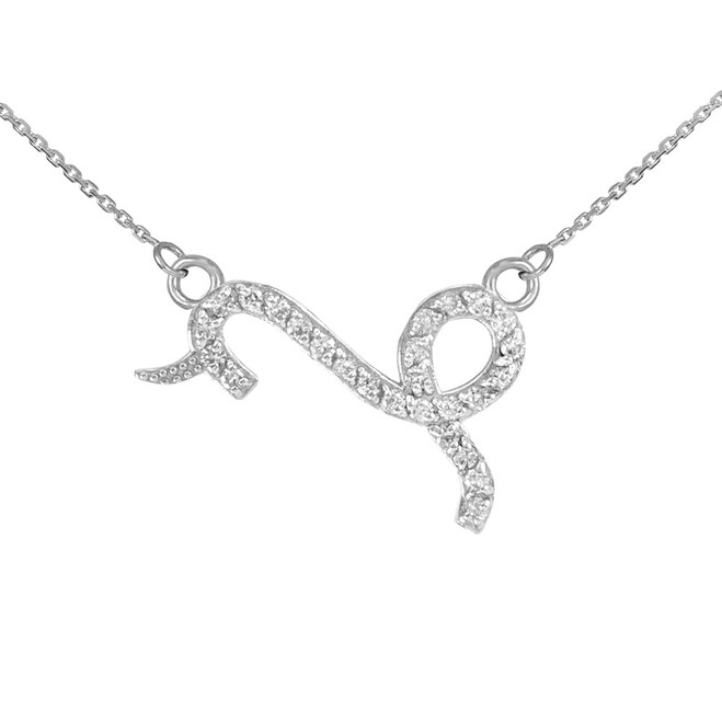 14K White Gold Capicorn Zodiac Sign Diamond Necklace
