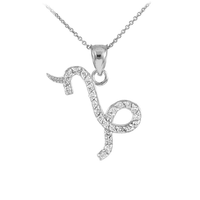 14K White Gold Capicorn Zodiac Sign Diamond Pendant Necklace