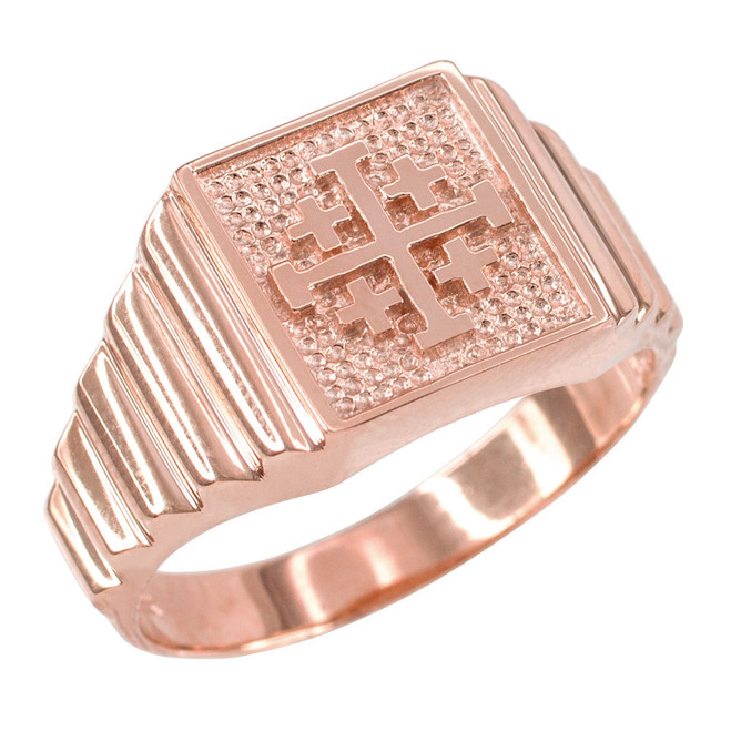 Rose Gold Jerusalem Cross Men's Ring