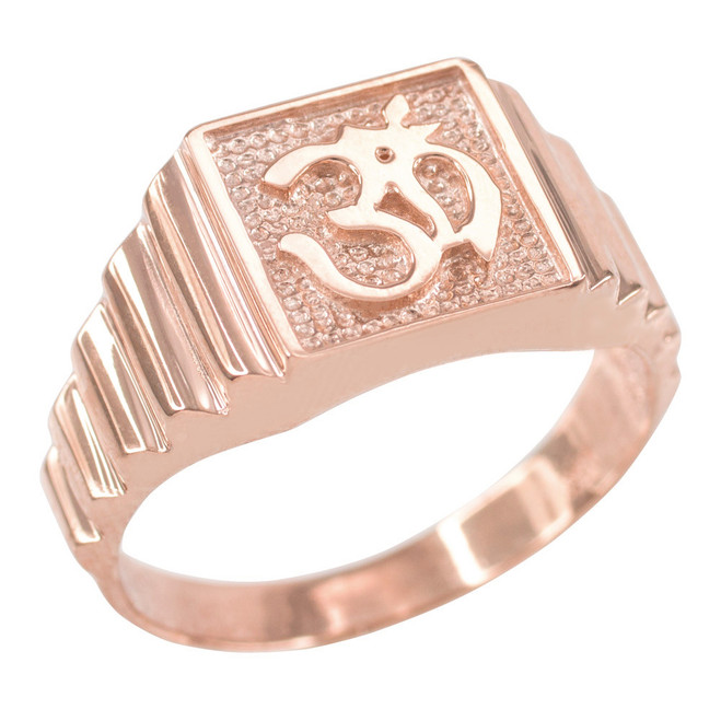 Rose Gold Om Men's Ring