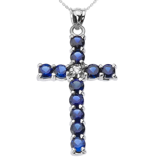 10k White Gold Diamond and Blue CZ Cross Pendant Necklace