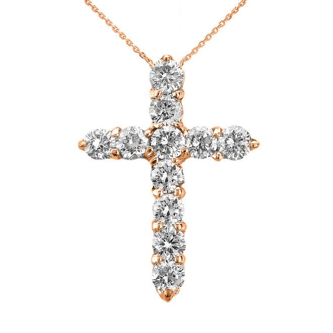 14k Rose Gold Round Diamond Cross Pendant Necklace