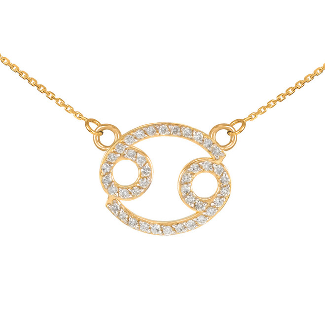 14K Gold Cancer Zodiac Sign Diamond Necklace