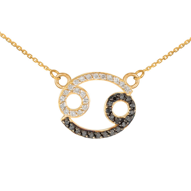 14K Gold Cancer Zodiac Sign Black Diamond Necklace