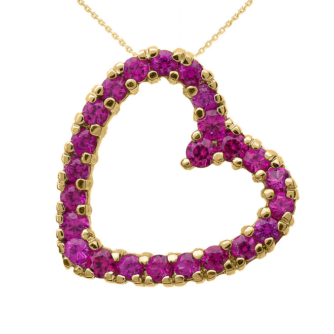 Yellow Gold Red Cubic Zirconia Open Heart Necklace