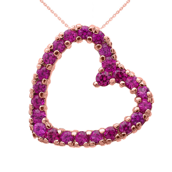 Rose Gold Red Cubic Zirconia Open Heart Necklace