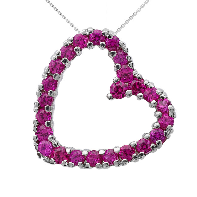 Sterling Silver Red Cubic Zirconia Open Heart Necklace