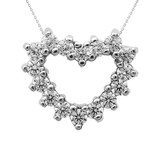 White Gold Diamond Open Heart Necklace