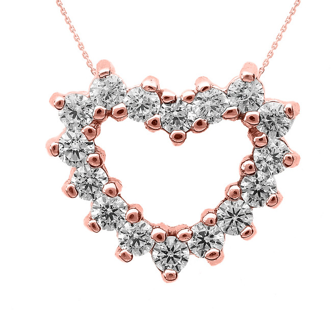 Rose Gold Cubic Zirconia Open Heart Necklace